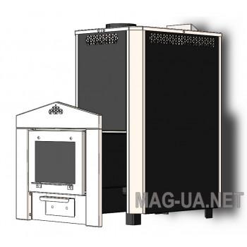 ЭКО М 20 кВт 220 мм черная с Нерж дверкой и вставками