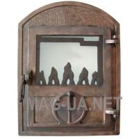 Чавунна пічна спаренна  дверка мідь - скло
