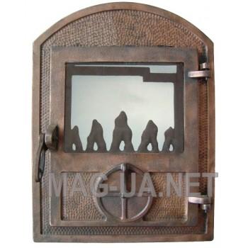 Пічна спаренна чавунна дверка з склом, гальваніка - мідь 350х470/375 (265х320)