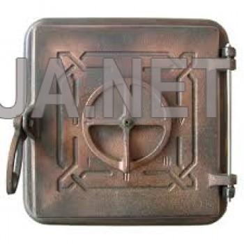 Пічна чавунна дверка, гальваніка - мідь 260х260 (215х215)