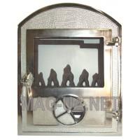 Чавунна пічна спаренна дверка нержавійка - скло