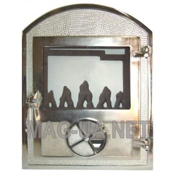 Пічна спаренна чавунна дверка з склом, гальваніка - нержавійка 350х470/375 (265х320)