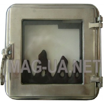 Пічна чавунна дверка з склом, гальваніка - нержавійка 260х260 (215х215)
