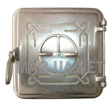 Пічна чавунна дверка, гальваніка - нержавійка 260х260 (215х215)