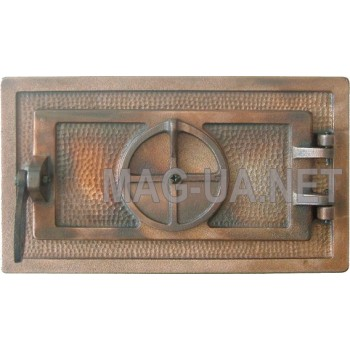 Зольна чавунна дверка велика, гальваніка - мідь 345х195 (260х120)