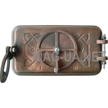 Зольна чавунна дверка, гальваніка - мідь 245х140 (210х210)
