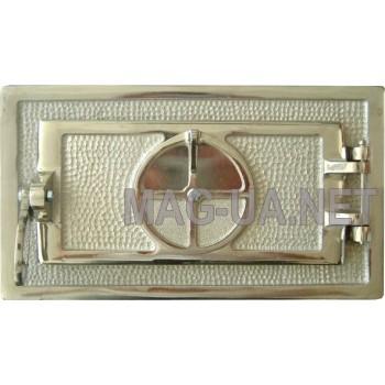 Зольна чавунна дверка велика, гальваніка - нержавійка 345х195 (260х120)
