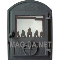 Чавунна пічна спаренна дверка чорна - скло