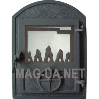 Пічна спаренна чавунна дверка з склом, чорна 350х470/375 (265х320)